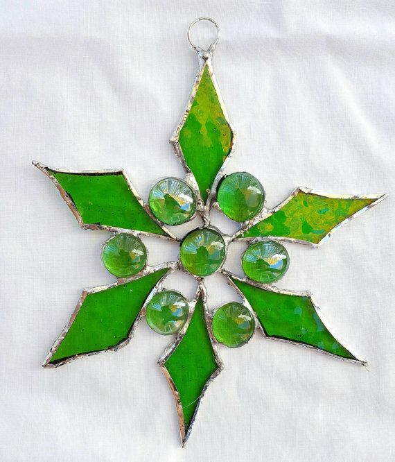 Beautiful Christmas Stained Glass Ornaments Part - 14: Green Stained Glass Ornament Christmas By PhyllishaFineArt On Etsy