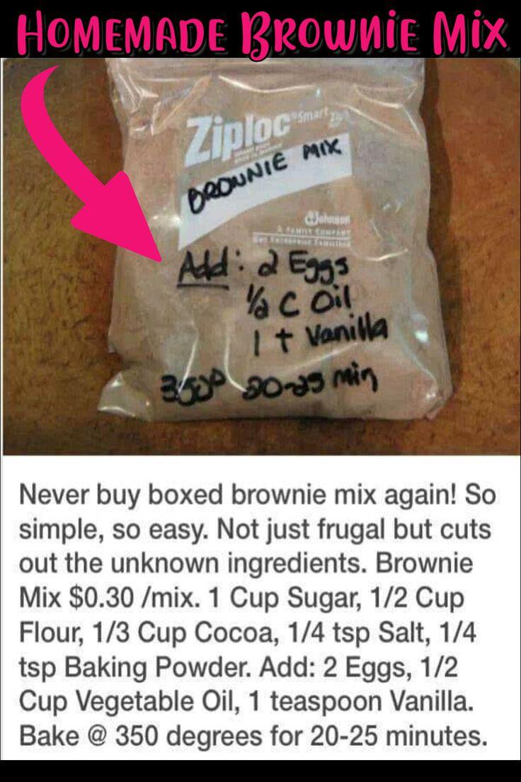 Ziploc Brownie Recipe - Homemade Brownie Mix in a Bag
