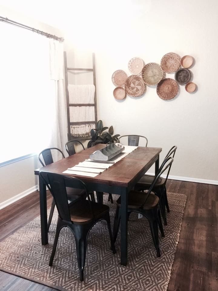 Love These Floors And Idea Of Using An Outdoor Rug Under The Dining Table Love These Floor In 2020 Farmhouse Dining Room Table Rug Under Dining Table Dining Table Rug