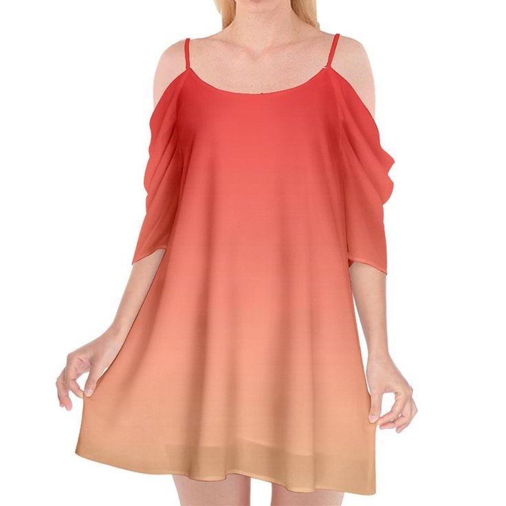 Red to Yellow Ombre Chiffon Cold Shoulder Dress