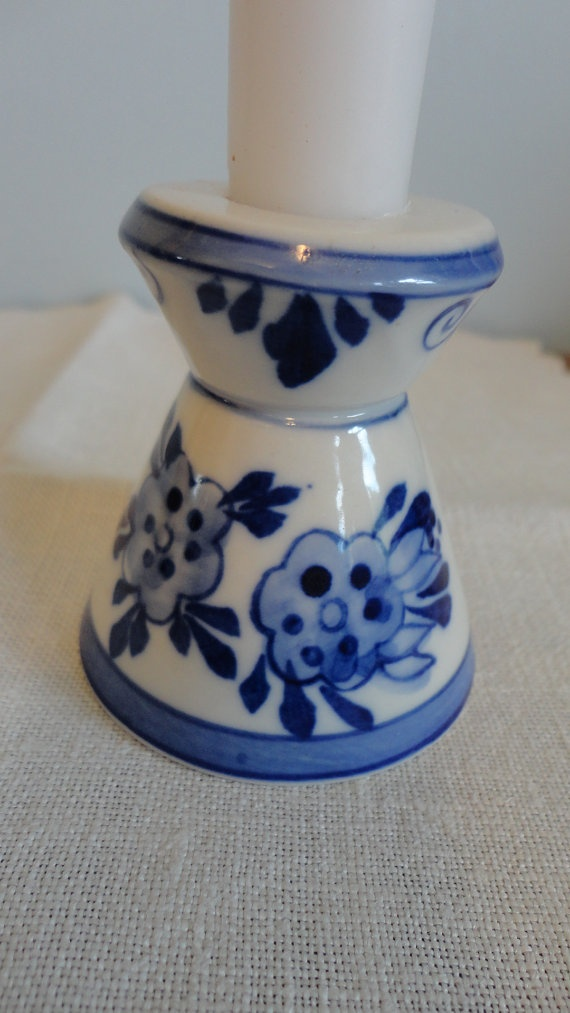 Vintage Delft Blue Candle Holder Dutch Windmill By