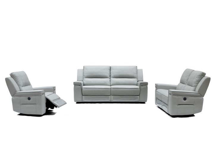 "Divani Casa Hearst Modern Grey Leatherette Sofa Set w/ Recliners. The Divani Casa Hearst Modern Grey Leatherette Sofa Set with Recliners is a dual-purpose creation upholstered in smooth light grey G12 leatherette. This modern sofa set includes a sofa and features an electric reclining loveseat and chair. This modern sofa set with recliners offers optimum utility. Dimensions: Sofa: W81"" x D38"" x H39""  Loveseat: W65"" x D38"" x H39""  Chair: W42"" x D38"" x H39""  Seat Height: 19""  Seat Depth: 21""…"