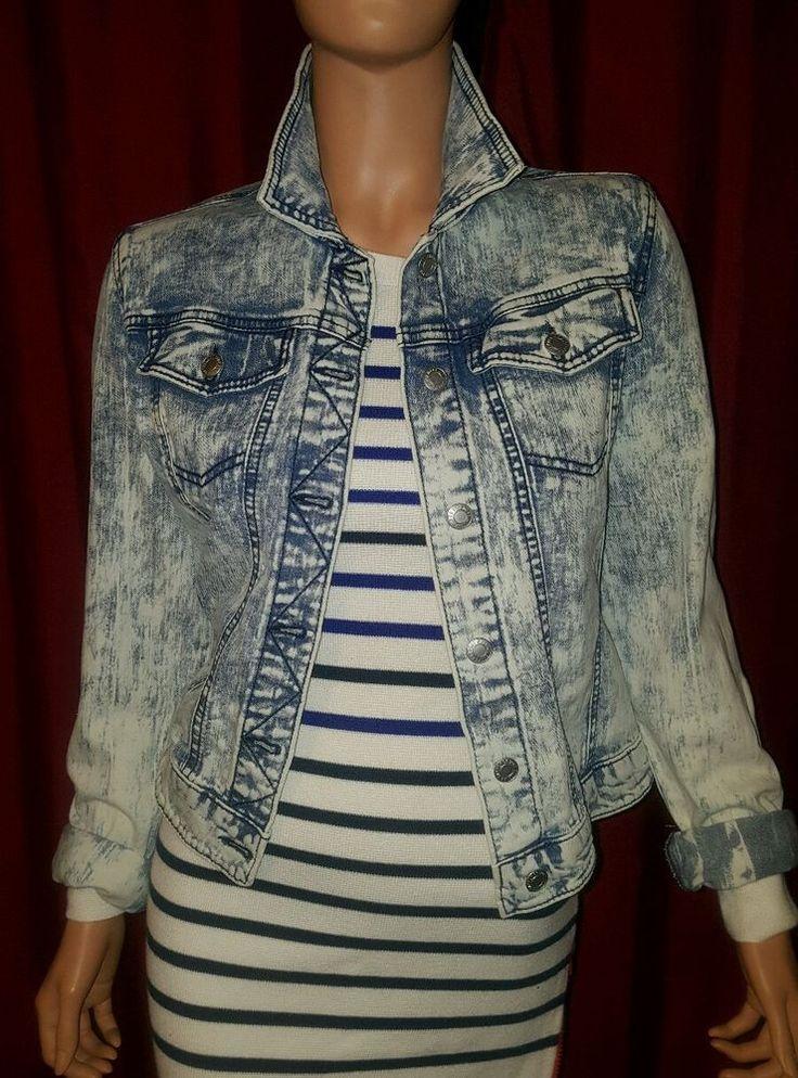 MOSSIMO Ladies Jean Jacket Denim Acid Wash STRETCH Classic denim jacket style Great dark blue with white acid wash finish NEW UNWORN WITHOUT TAGS | eBay!
