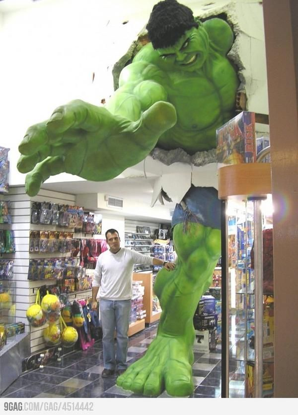 The Hulk Crashing Through The Walls in a Toy Store - coolest toy store entrance ever!