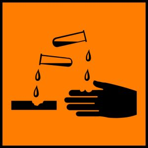 Science Laboratory Safety Signs: Orange Corrosive- Safety Sign