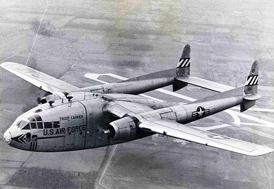 """Fairchild C-119 Flying Boxcar was an American military transport aircraft developed from the World War II-era Fairchild C-82 Packet, designed to carry cargo, personnel, litter patients, and mechanized equipment, and to drop cargo and troops by parachute. The first C-119 made its initial flight in November 1947, and by the time production ceased in 1955, more than 1,100 C-119s had been built. Its cargo-hauling ability and unusual appearance earned it the nickname """"Flying Boxcar""""."""