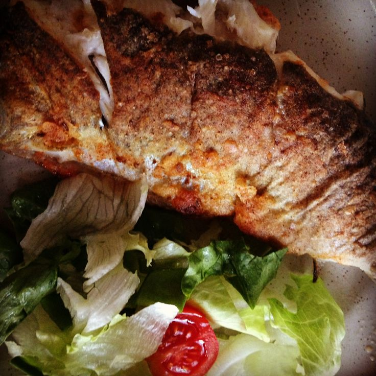 pstruh - baked trout and green salad  #eatingprague #prague #food