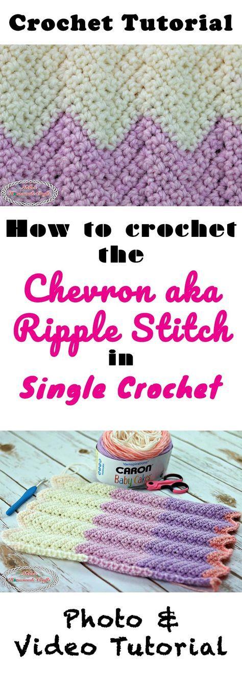 Chevron aka Ripple Stitch using Single Crochet - Crochet Tutorial using many Photos and a Video - by Nicki's Homemade Crafts #crochet #chevron #crochetstitch #crochetutorial #ripplestitch #chevronstitch #videotutorial