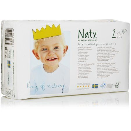 Naty by Nature Babycare ECO Diapers Size 2, 34 Count, Multicolor