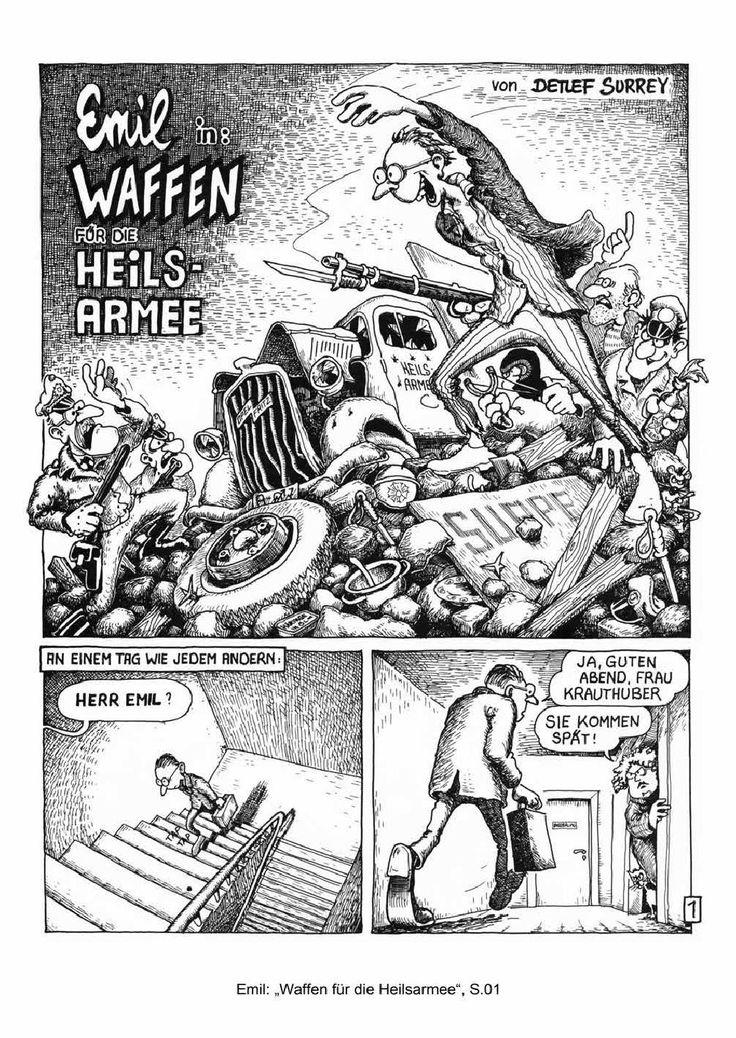 """""""Emil - Waffen für die Heilsarmee"""" (""""Arms for the salvaton army""""), Detlef Surrey Comic story, aus: IRRWITZ Comics - Comic-Sammelband mit Geschichten von Wolfgang Stein, Tomas M. Bunk, Detlef Surrey, Hansi Kiefersauer und Gerhard Seyfried. Weismann-Verlag, 1983. http://issuu.com/emilcomics/docs/emil-waffen_comic-1983"""