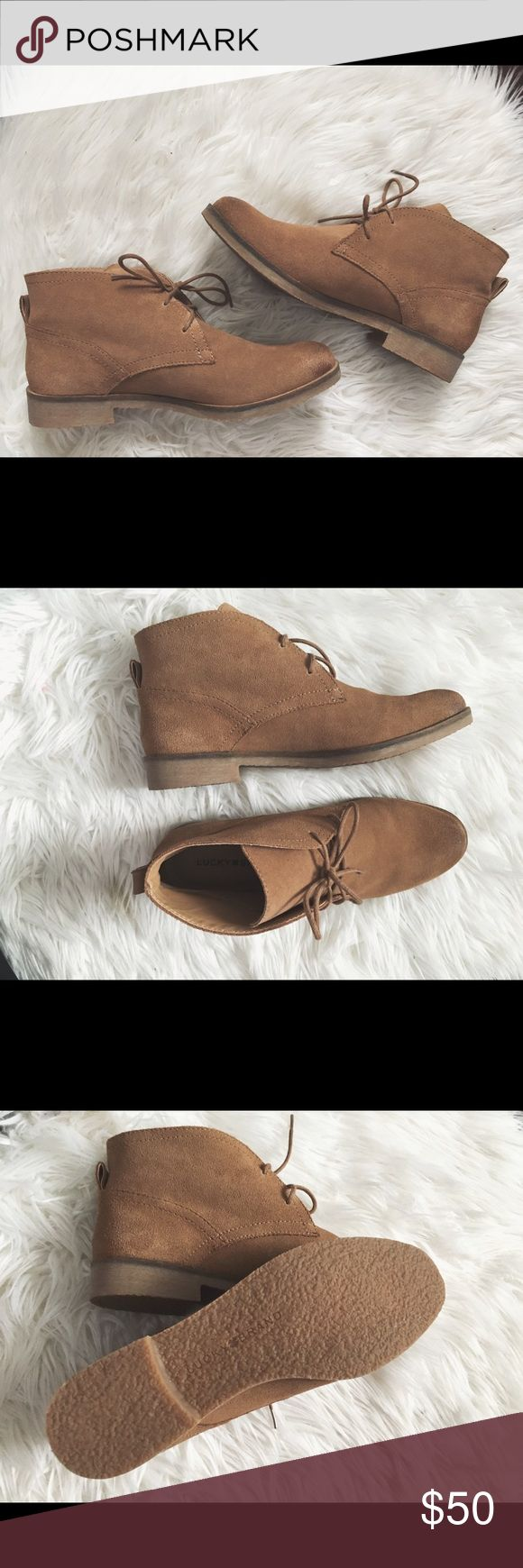 Lucky Brand lace-up booties BRAND NEW!! Never been worn, but comes without box. Beautiful brown/tan color. Very lightweight!! Bundle shipping included. Lucky Brand Shoes Ankle Boots & Booties