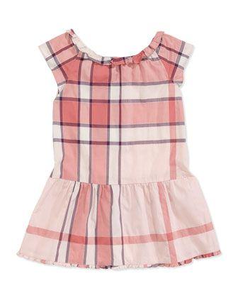 Burberry Cap-Sleeve Check Dress, Pink, 4Y-10Y - Neiman Marcus
