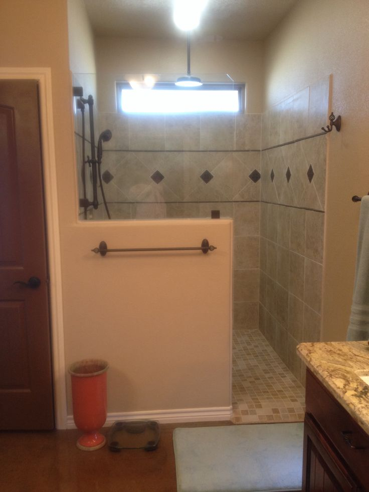Master Bath Shower Glass Petition No Door Or Track To Clean Partial Wall