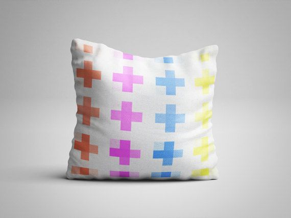 Plus Sign Scandinavian Throw Pillow - Geometric Design Pillow with insert - Modern Chic Decorative Pillow - Mid Century Modern Decor