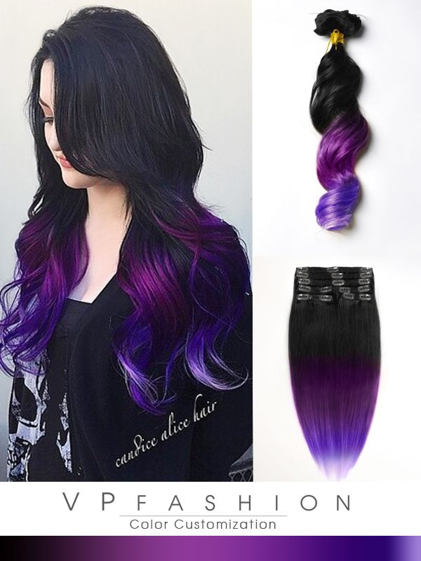 black to purple mermaid colorful ombre indian remy clip in hair extensions cs022