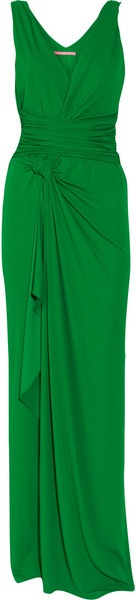 EMANUEL UNGARO  Green Gown  Twisted straps, surplice bodice, ruched cummerbund waist, draped and knotted sarong-style skirt.