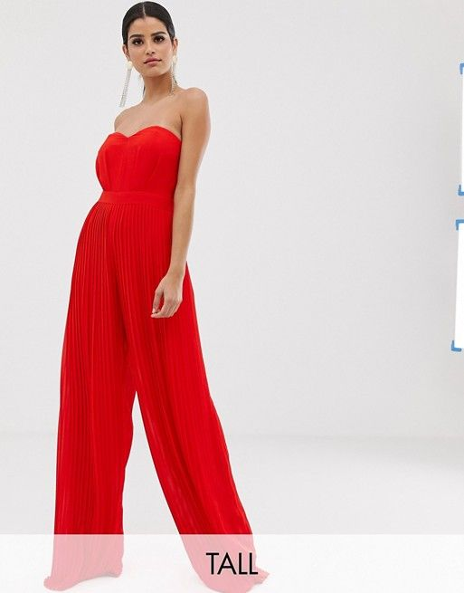 bbbd24bc9ec4 TFNC Tall bandeau pleated wide leg jumpsuit in red in 2019   Holiday ...