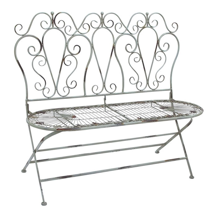 Bistro Bench With Scrolling Detail. Product: BenchConstruction Material:  MetalColor: Antique BlueFeatures: Folds For Easy StorageDimensions: 38 H X  44 W X ...