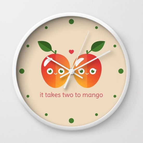 It Takes Two to Mango Wall Clock - pun, puns, mango, mangos, tango, dance, fruit, food, funny, cute, love, relationship, tasteful, tasty, relationships, valentine, valentines, vector, art, illustration, drawing, design