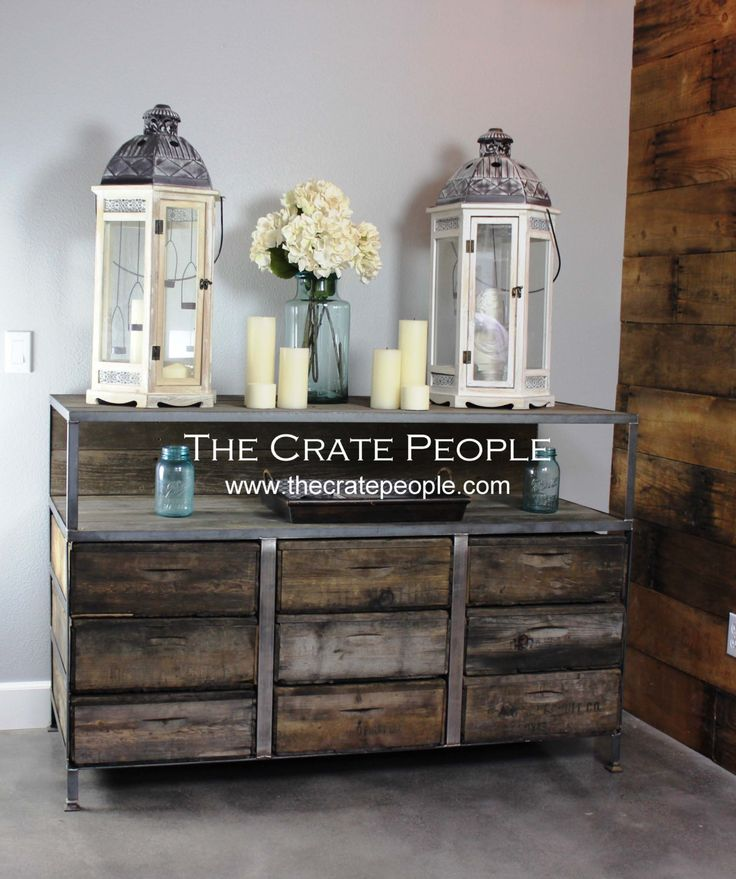 Buffet Table or TV Console – Customizable Furniture using Vintage Wood Crates by FoundInAttic on Etsy https://www.etsy.com/listing/198455035/buffet-table-or-tv-console-customizable