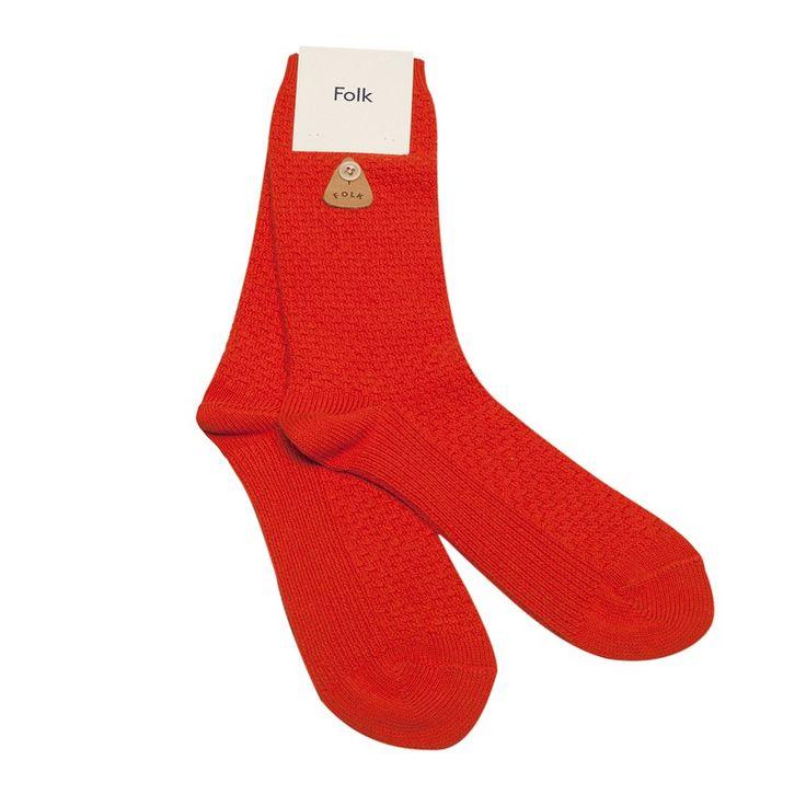 Folk Orange Waffle-Knit Cotton Socks