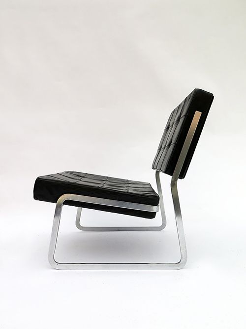 Paul Sumi - Chromed Metal and Leather lounge Chair for Sumi, 1965
