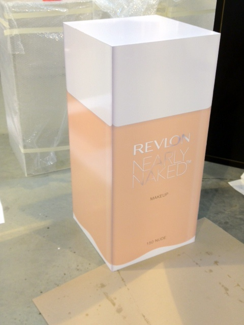 Life size Revlon products designed for a pop-up press event.
