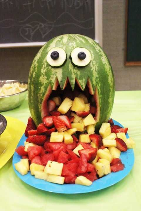 "For ""kids"" of all ages! Watermelon monster great way to serve Fruit Salad"