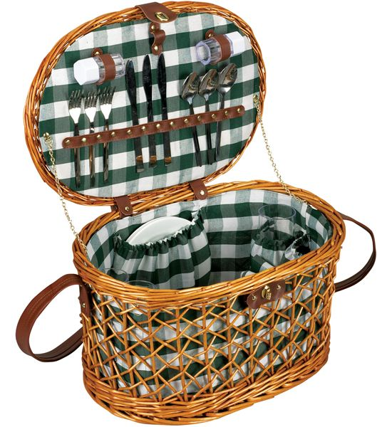 The Wicker Picnic Basket Set - Service for Four is a beautiful and durable willow wicker picnic basket that has full service for four.