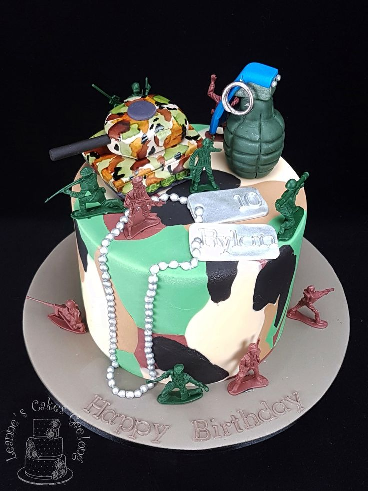 Army Cake: Rylan celebrated his 10th birthday with an army camouflage cake. All edible except the little army men. www.facebook.com/cakesbyleannerhodes