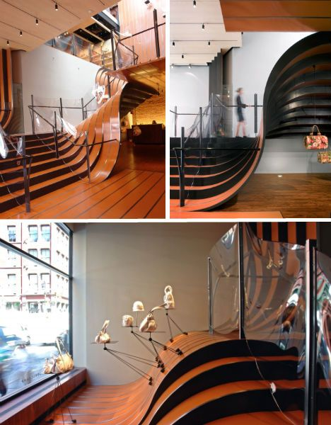 Heatherwick Studio created this mad staircase for a shop in NY - pity about the safety rail!