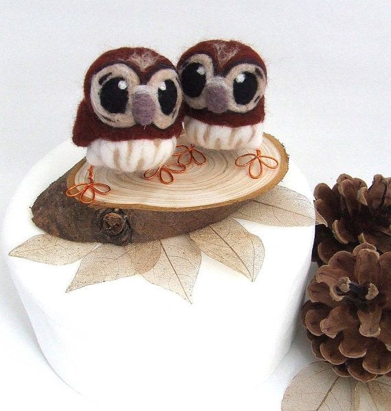 Mini Owl Wedding Cake Topper Tawny Owl Pair in by feltmeupdesigns