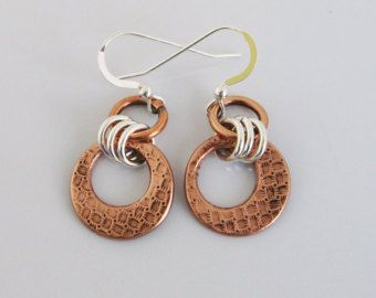 Mixed Metal Earrings / Silver and Copper by RusticaJewelry on Etsy