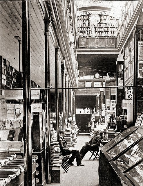 This is in Australia, not NYC, but I can see my characters browsing in a bookstore like this. Cole's Book Arcade ( ca. 1900) by ookami_dou, via Flickr
