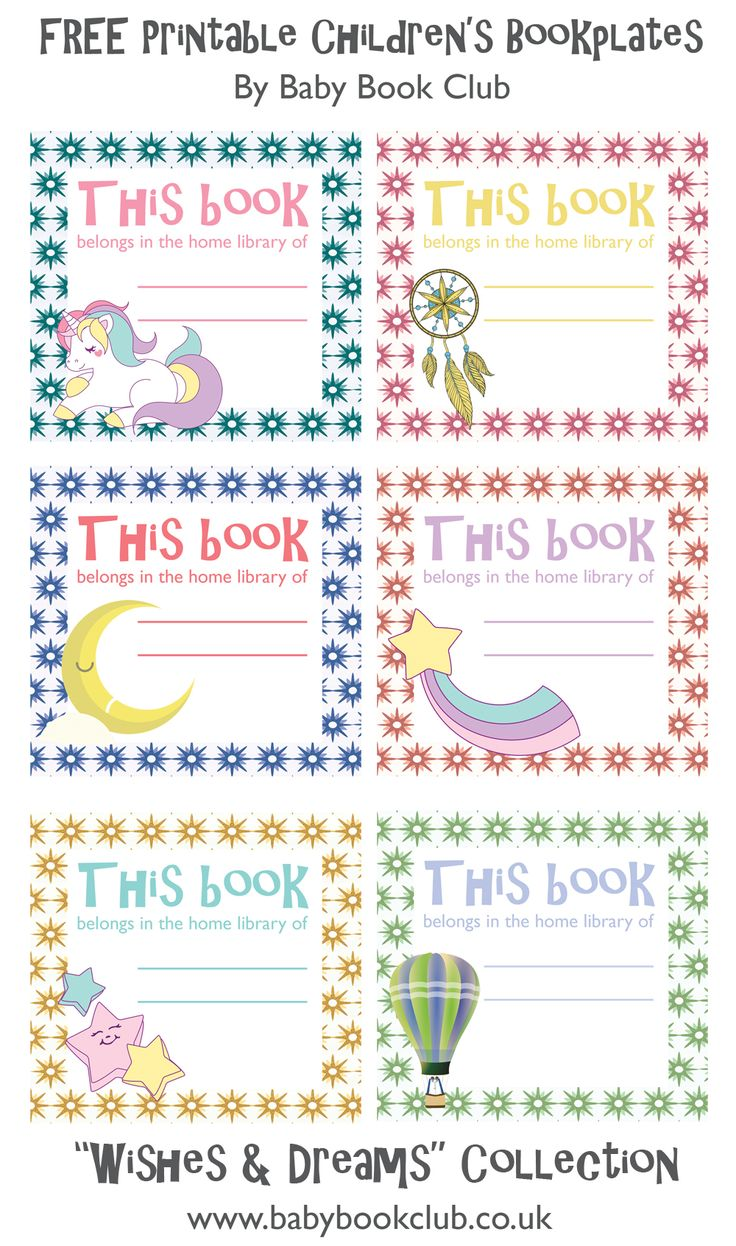 Free printable children's bookplates / book stickers from Baby Book Club.  The 'Wishes and Dreams' collection.