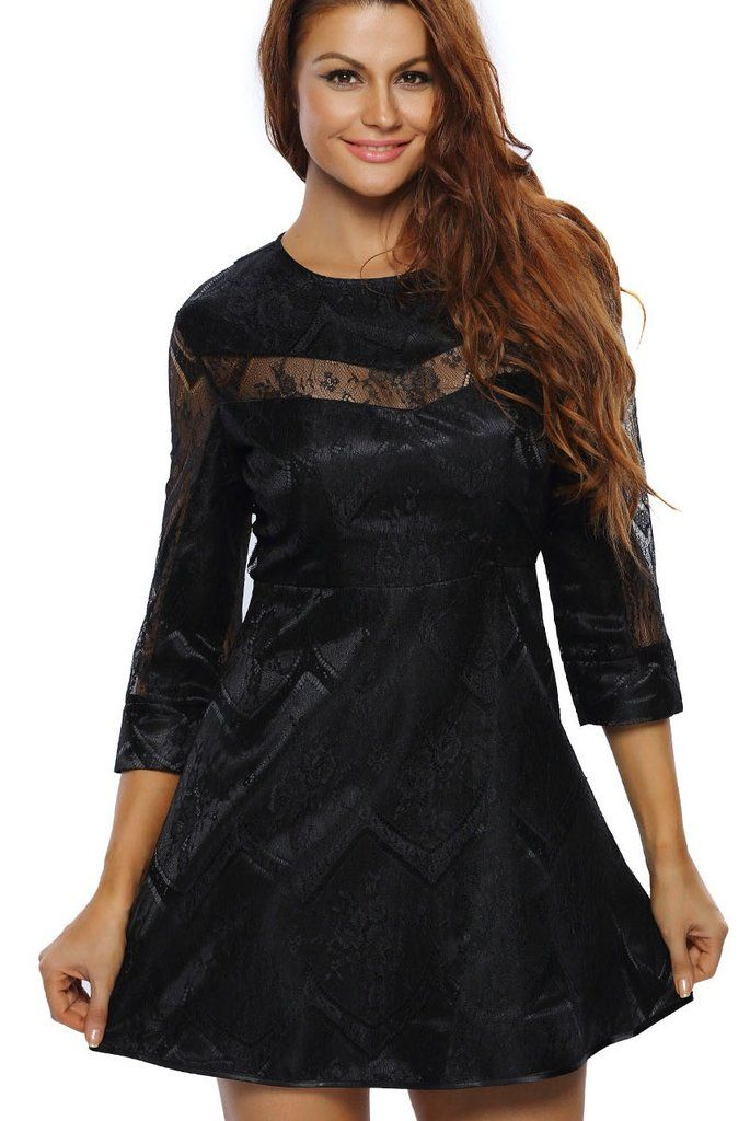 Robes Patineuses Pas Cher -- Robes Patineuses Noir Pure Dentelle Superposition a Manches MB22926-2 – Modebuy.com