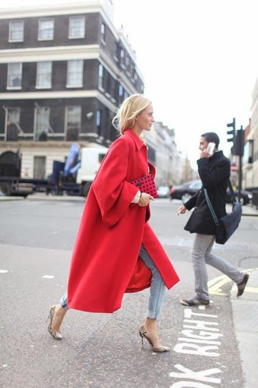 Love this statement red coat with the comfiness of casual jeans and yummy snakeskin heels.  Check out the new collab with 9 West and Instyle magazine.  They have a similar shoe.