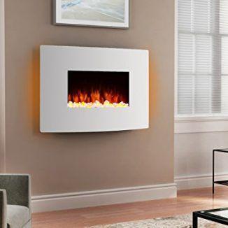 #Chimenea eléctrica egton blanca con pantalla curvada, 220/240voltios, 1& 2kW con mando a distancia... #decoracion