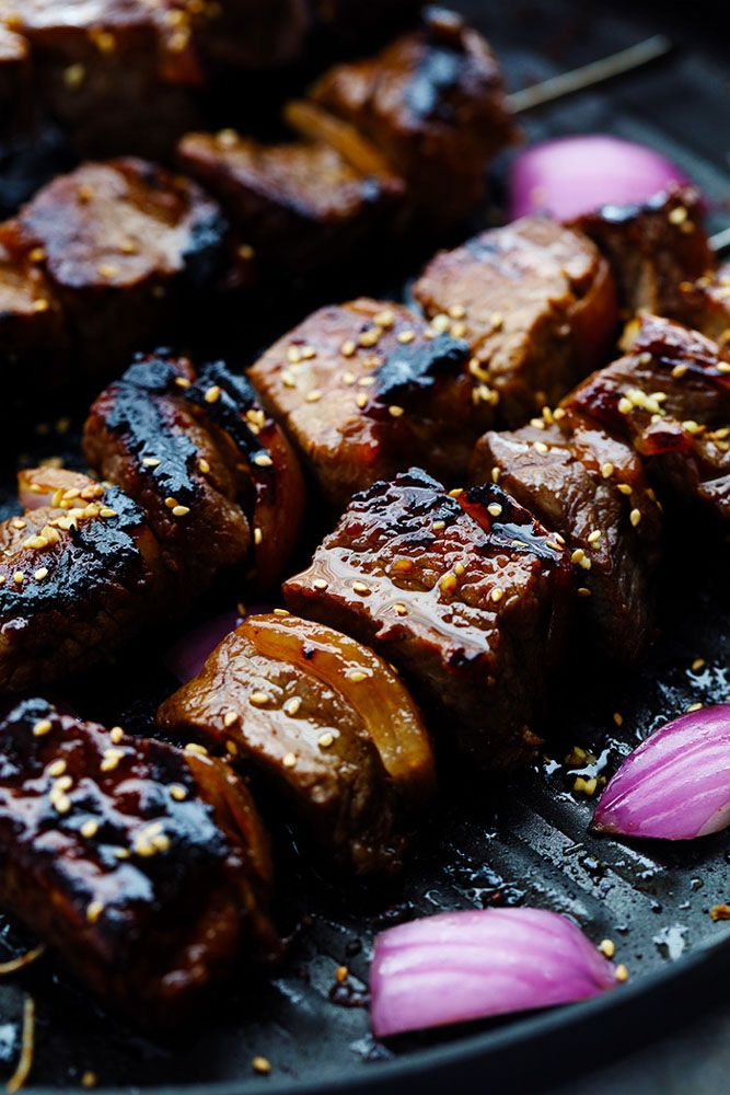 Grilled Asian GarlicSteak Skewers are marinated in a delicious asian garlic sesamesauce and grilled to tender and juicy perfection! Ok ...