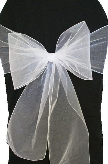 White Organza Chair Sashes  Wedding Pew Bows by Bellsandshowers, $78.00