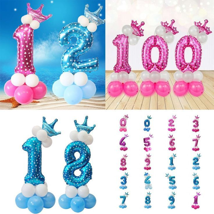 Blau Nummmer 0-9 Zahlenballon Riesenzahl Luftballon Folienballon Latexballon