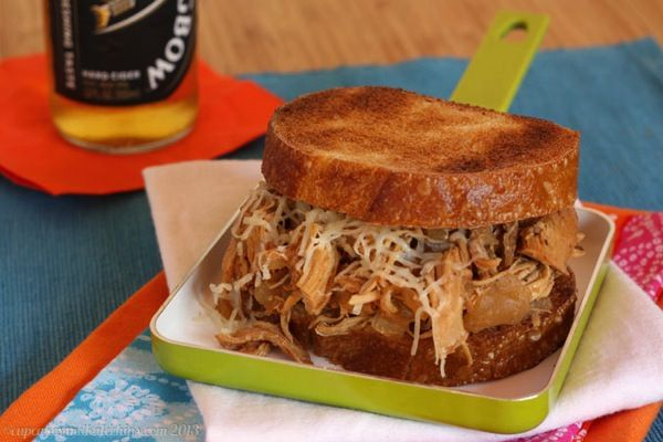 Slow Cooker Apple Cider Pulled Chicken Sandwiches