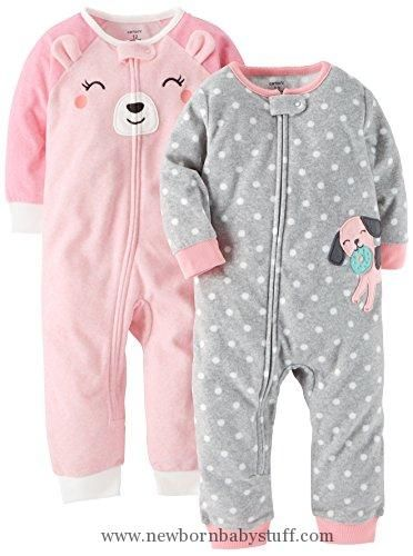 5200e9134 Baby Girl Clothes Carter's Baby Girls' 2-Pack Fleece Footless Pajamas,  Puppy/Bear, 12 Months