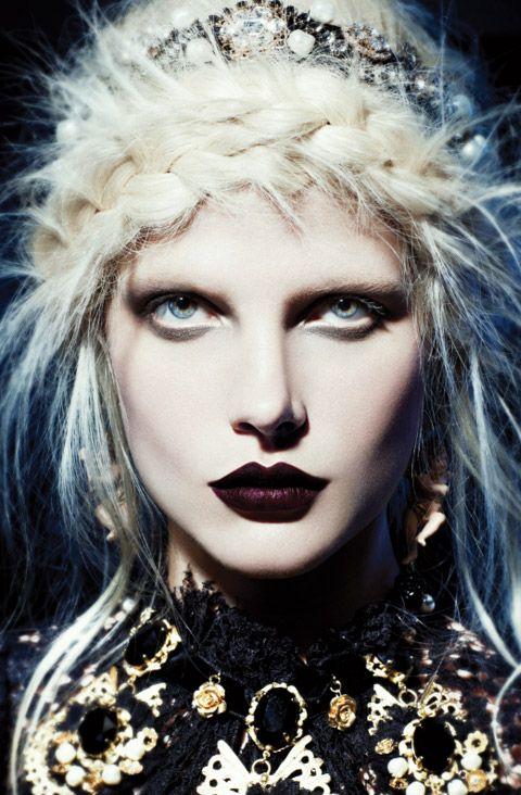 "October 2012 ""Dark Ages"" editorial photographed by Gabor JurinaGothic Beautiful, Inspiration, Makeup, Dark Lips, Wigs, Fashion Magazines, Dark Age, Bekah Jenkins, Hair"