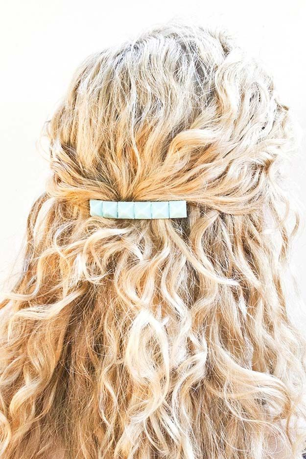 38 Creative DIY Hair Accessories - Studded Barrete - Create Pretty Hairstyles for Women, Teens and Girls with These Easy Tutorials - Vintage and Boho Looks for Prom and Wedding - Step by Step Instructions for Cool Headbands, Barettes, Pony Tail Holders, Hair Clips, Bobby Pins and Bows http://diyprojectsforteens.com/diy-hair-accessories