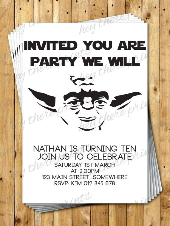 Yoda Birthday Invitations Star Wars Darth by HeyTherePrints