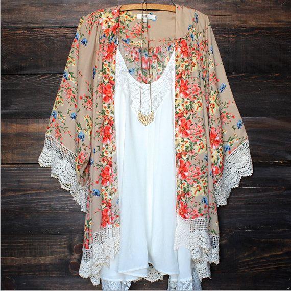 Ladies Gypsy Bohemian Chiffon Kimono Floral Long Loose Fringe Cardigan Boho Lace Fringe *Large* See measurments check shipping times