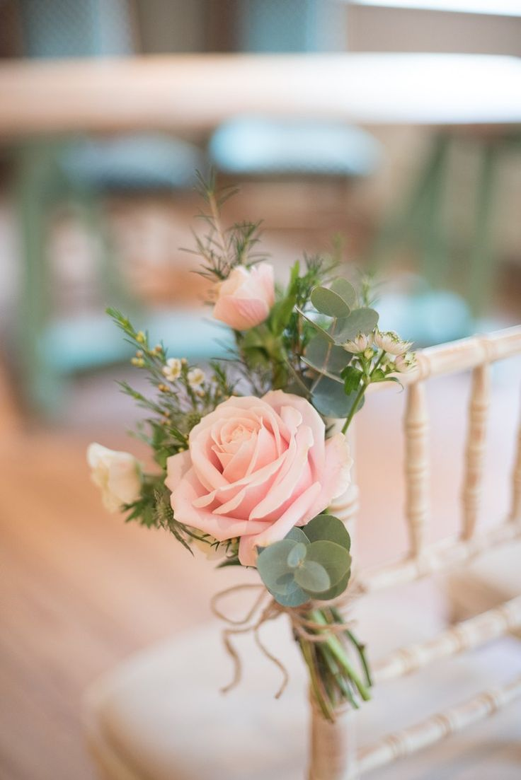 Outdoor wedding ceremony chair decorations - Chair Flowers Pew End Soft Pink Rustic Winter Wedding Http Www Capturedbykatrina