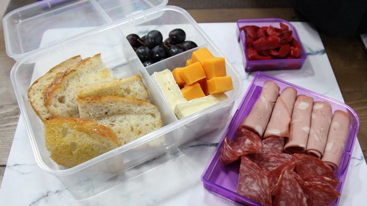 Fancy Lunch Snack Pack With Salami Brie Mortadella And Grapes Easy Snacks Lunch Snacks