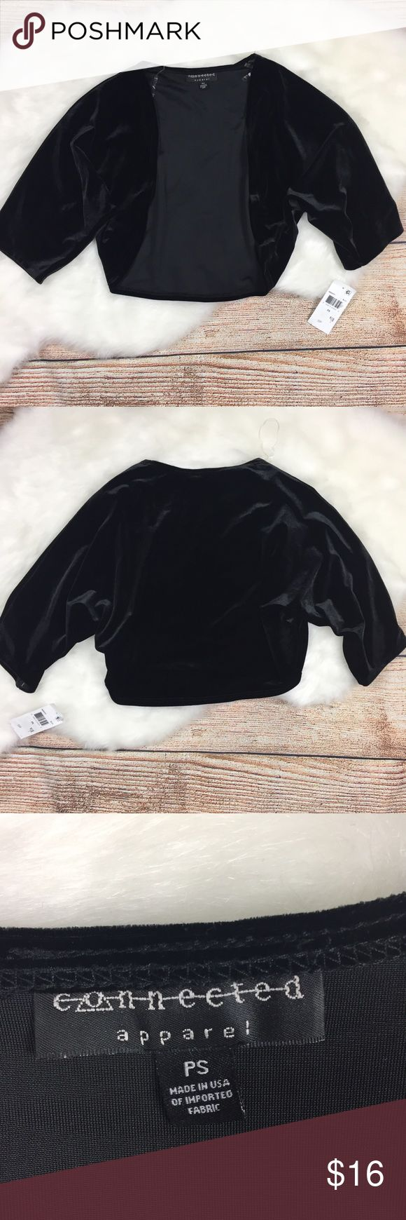 """🆕 connected apparel • faux velvet shrug New with tags! Connected Apparel black faux suede shrug cardigan.  Pit to pit: 15"""" Length: 15"""" Sleeve: 14.5"""" Connected Apparel Sweaters Cardigans"""